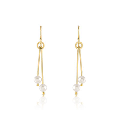 Boucles d'oreilles or 375 jaune perle de culture de chine - vue D1