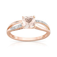 Bague or 375 rose morganite carrée et diamants