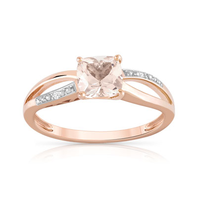 Bague or 375 rose morganite et diamant - vue V1