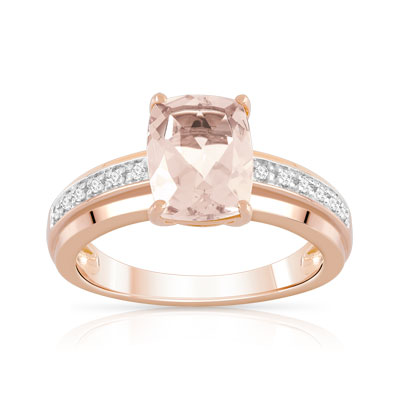 Bague or 375 rose morganite et diamant - vue 1