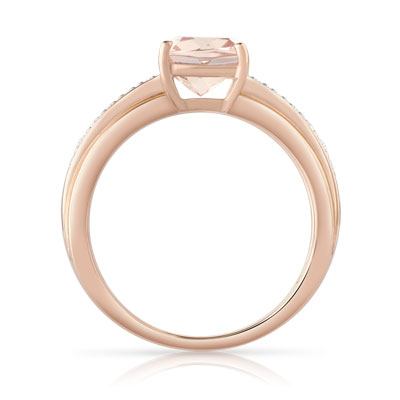 Bague or 375 rose morganite et diamant - vue 2
