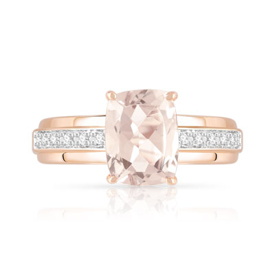 Bague or 375 rose morganite et diamant - vue V3