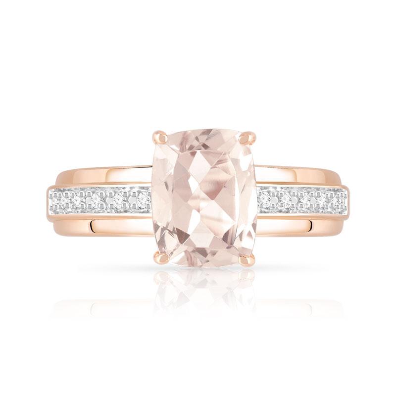 Assez Bague or 375 rose morganite et diamant - Femme - Bague | MATY KH78
