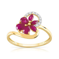 Bague or 375 2 tons rubis et diamant