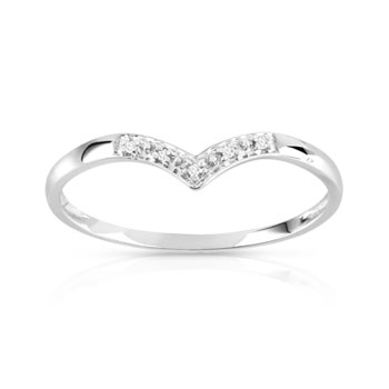 Bague or 375 blanc diamant