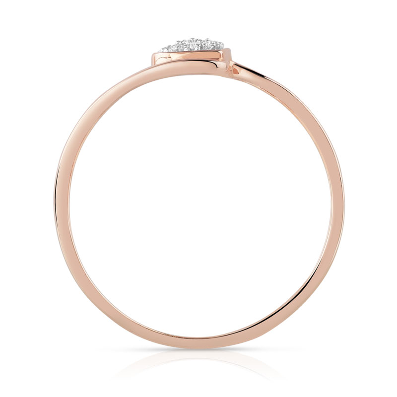 Bague or 375 rose diamant - vue V2
