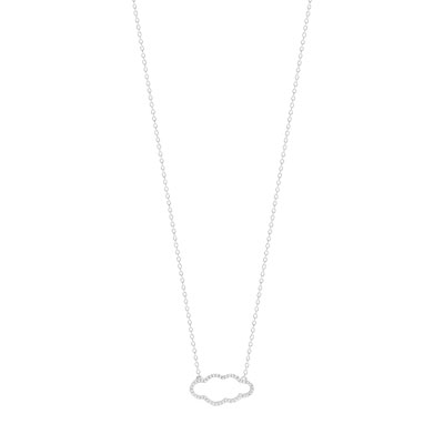 Collier or 375  blanc diamant - vue 1