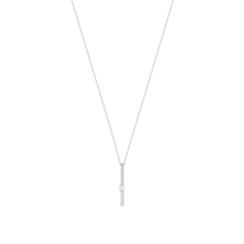 Collier or 375 blanc perle de culture de chine - vue V1