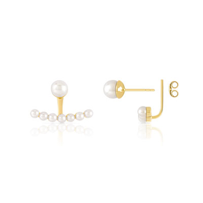 Boucles d'oreilles or 375 jaune perle de culture de chine - vue D2