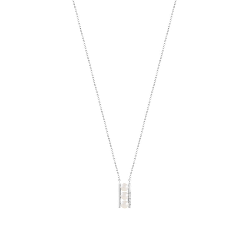 Collier or 375 blanc perle de culture de chine diamant - vue V1