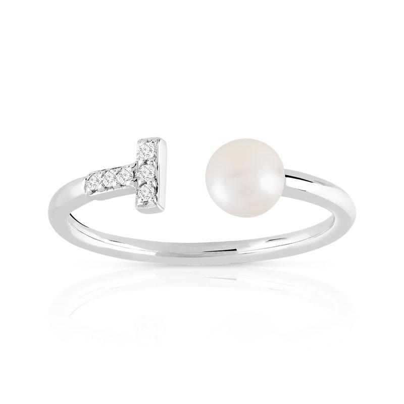nouvelles variétés vraie qualité sortie en vente Bague or 375 blanc perle de culture de chine et diamant