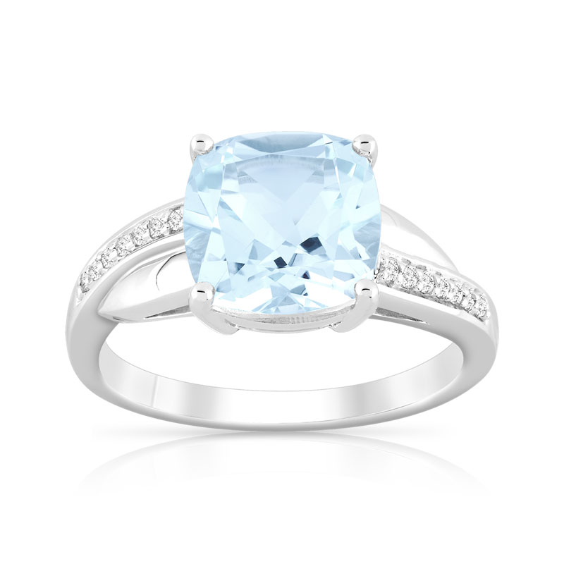 8e3ba9507ce Bague or 375 blanc topaze bleue traitée et diamant - Femme - Bague ...