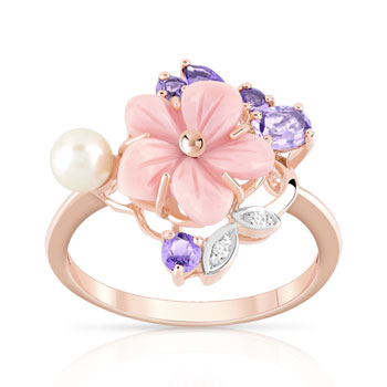 Bague or 375 rose fleur pierres fines diamants perle de culture de Chine et nacre rose