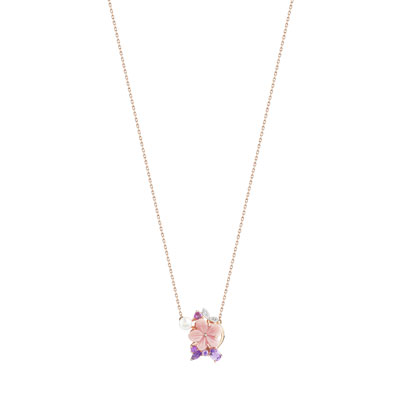 Collier or 375 rose pierre fine perle nacre et diamant - vue V1
