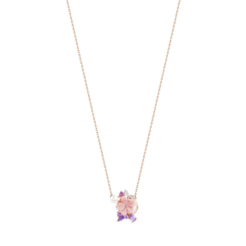 Collier or 375 rose pierre fine perle nacre et diamant - vue 1