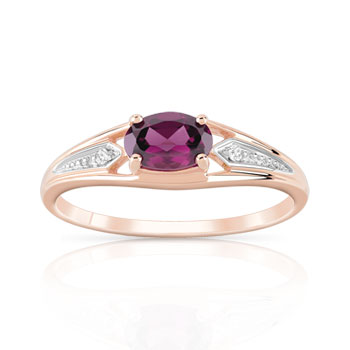 Bague or 375 rose grenat rhodolite et diamants