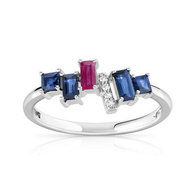 4271d5af86b Bague or 375 blanc pierre précieuse et diamant - Femme - Bague