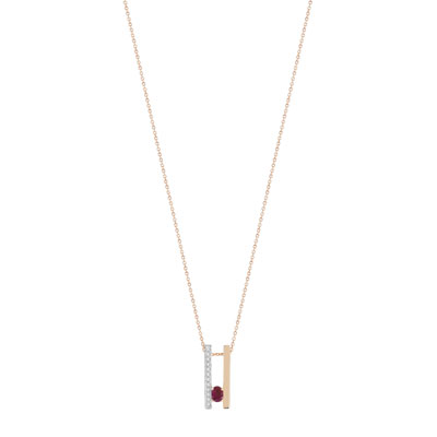 Collier or 375 rose rubis et diamant - vue V1