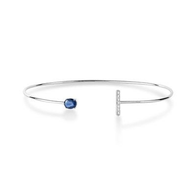 Bracelet or 375 blanc saphir et diamant