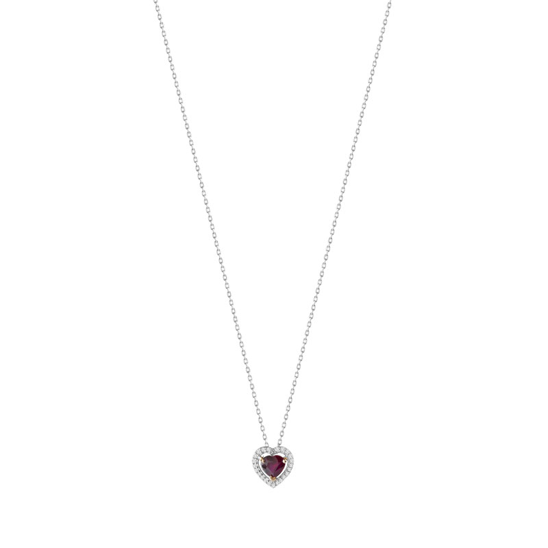 Collier or blanc 375 2 tons rubis et diamant - vue V1