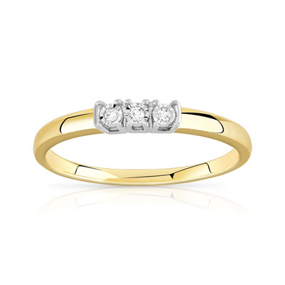 Bague or 375 2 tons diamant - vue 1