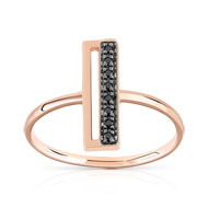 Bague or 375 rose diamant noir