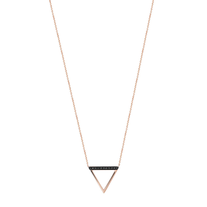 Collier or 375 rose diamant noir - vue V1