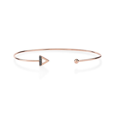 Bracelet or 375 rose diamant noir - vue V1