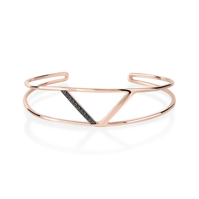 Bracelet or 375 rose diamant noir - vue 1