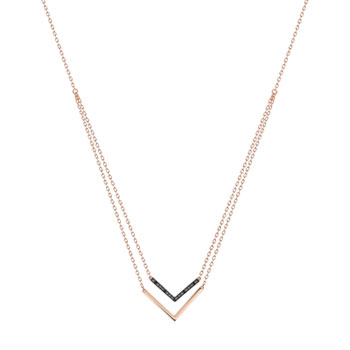 Collier or 375 rose diamant noir