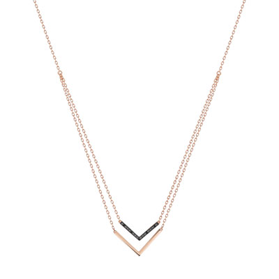Collier or 375 rose diamant noir - vue 1