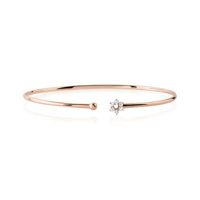 Bracelet or 375 rose diamant - vue 1