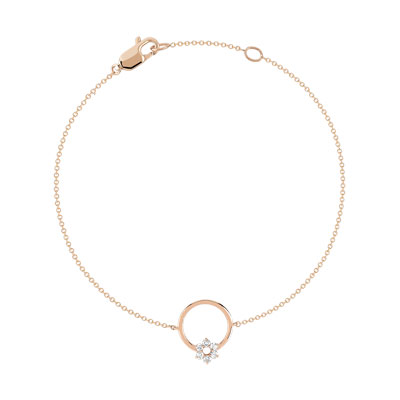 Bracelet or 375 rose diamant - vue V1