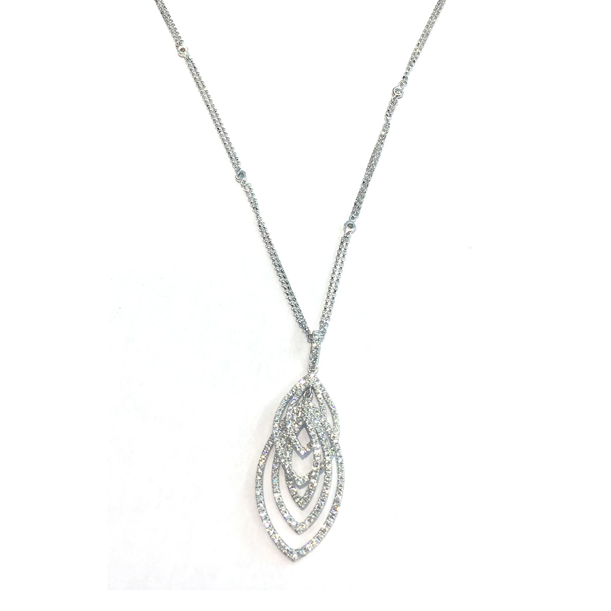 Collier or 750 blanc diamant 46 cm - vue 1