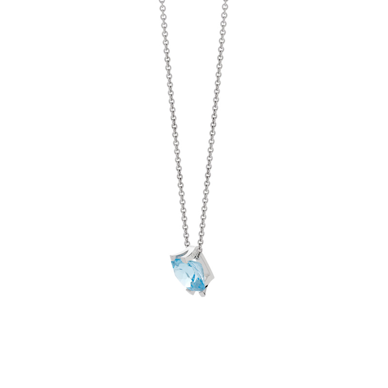 Collier VAN BRILL or 750 blc topaze bleue traitee - vue VD1