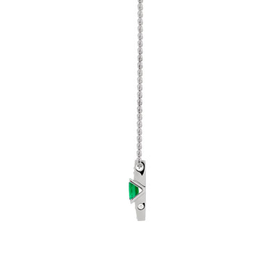 Collier VAN BRILL or 750 blanc emeraude diamant - vue VD1
