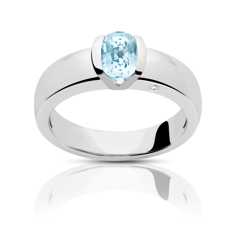 Bague VAN BRILL or 750 blanc topaze bleue traitee