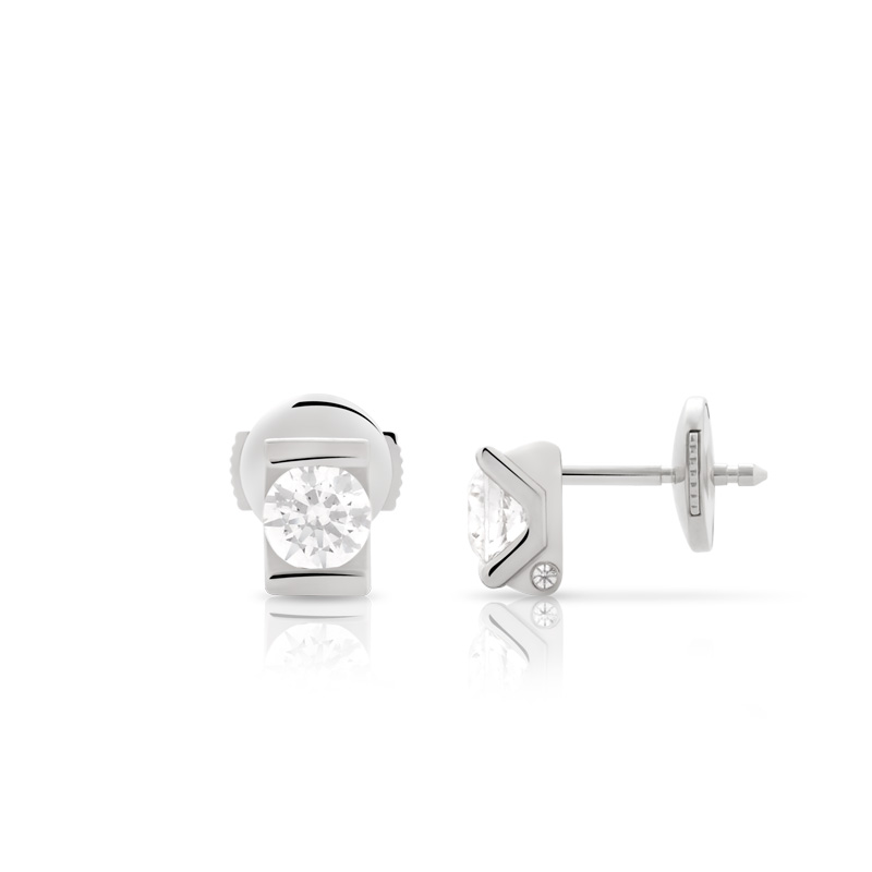 Boucles d'oreilles VAN BRILL or 750 blanc diamant