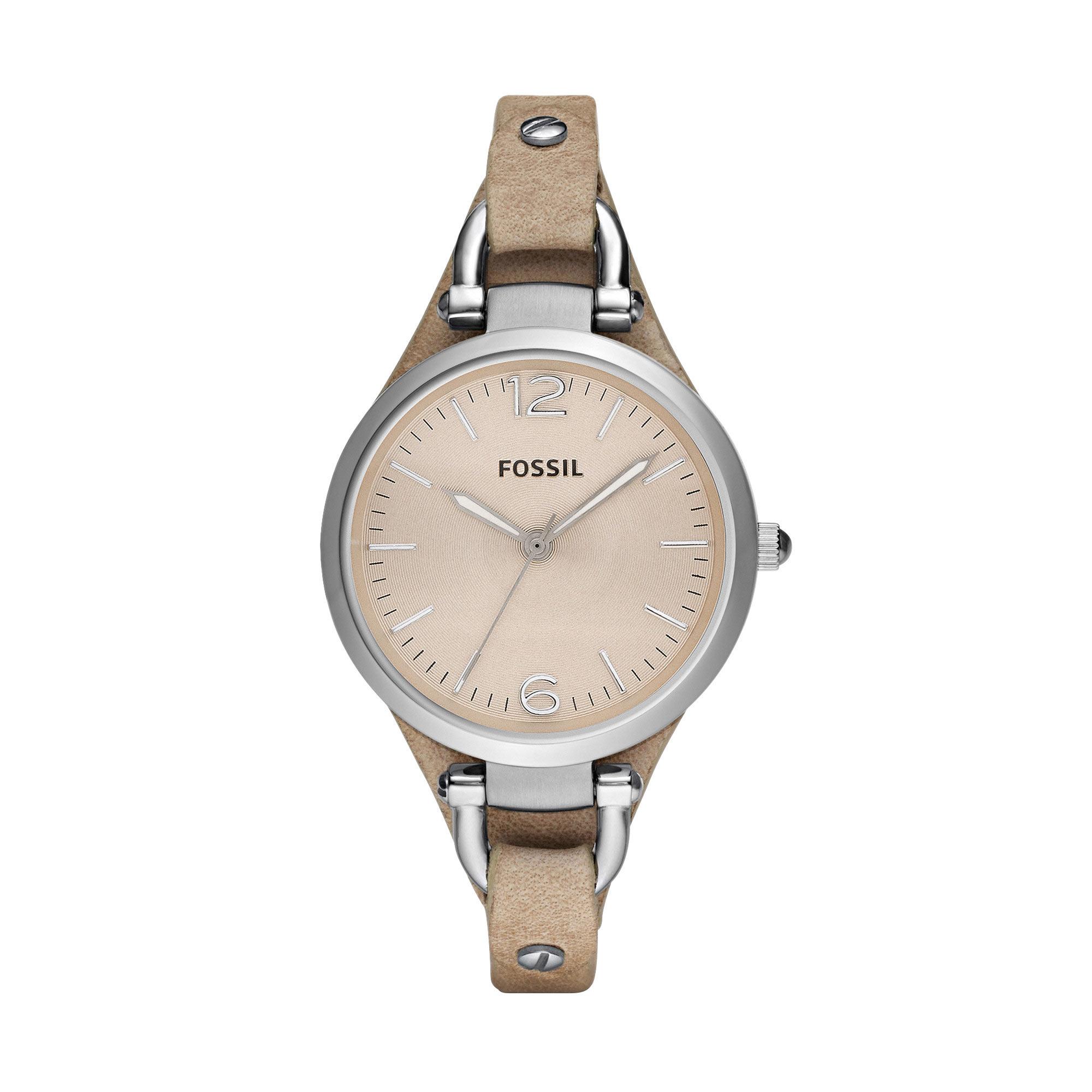 Montre Fossil femme acier bracelet cuir , vue V1