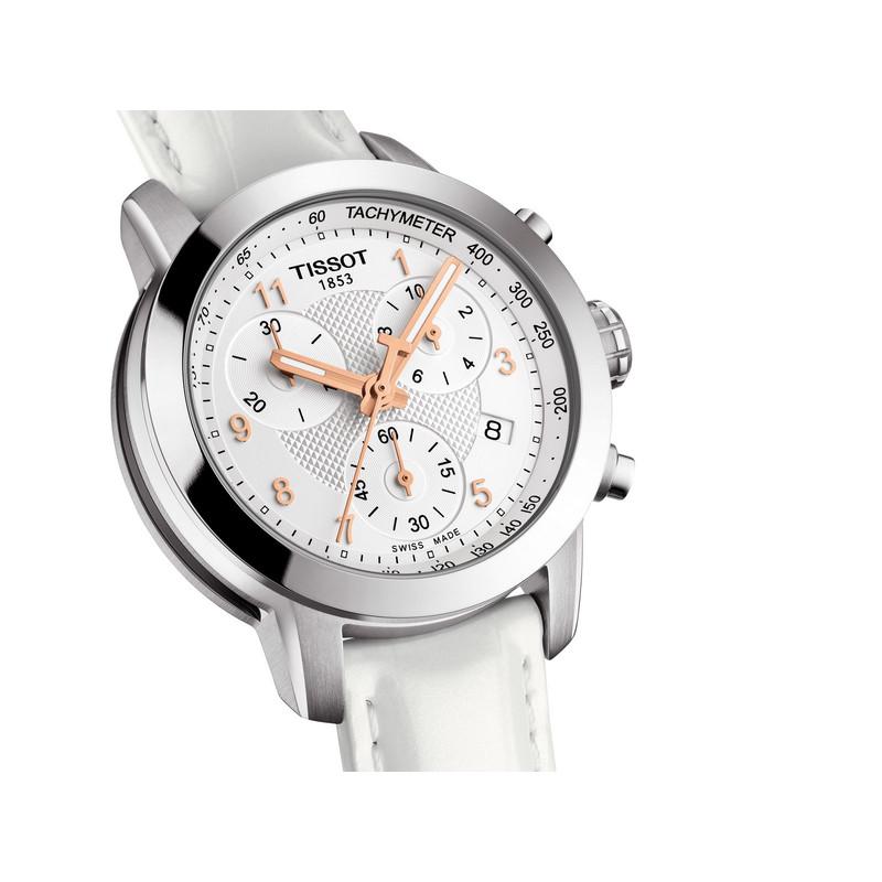 c5ba7a2c6cff6 Montre Tissot femme chronographe acier cuir blanc - Femme - modèle ...
