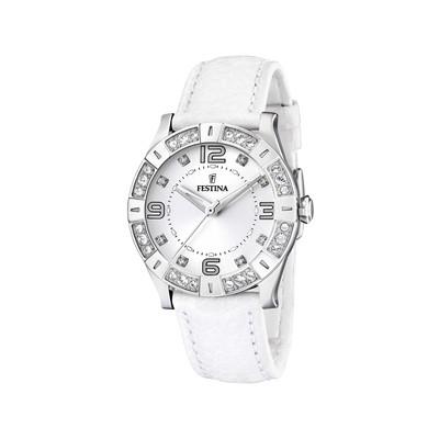 00dcb9373befb Montre Festina femme acier cuir blanc - Femme - modèle F16537 1