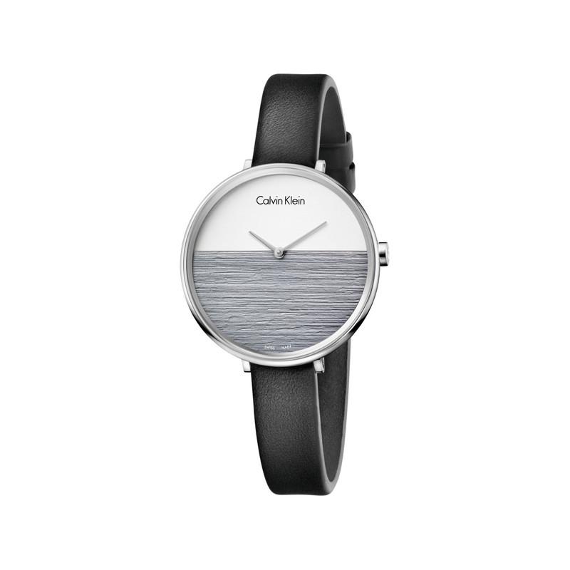 sélection premium 4ae3a bc5ce Montre Calvin Klein femme acier bracelet cuir