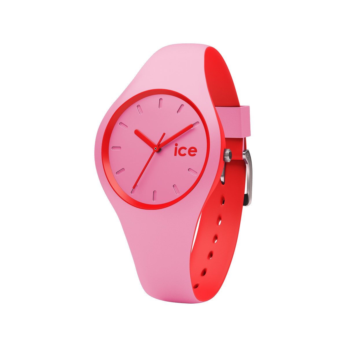 Montre Ice Watch femme silicone rose et rouge - vue 1