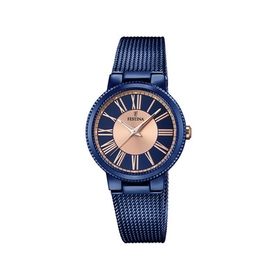 montre festina femme acier bleu bracelet milanais femme mod le f16967 1 maty. Black Bedroom Furniture Sets. Home Design Ideas