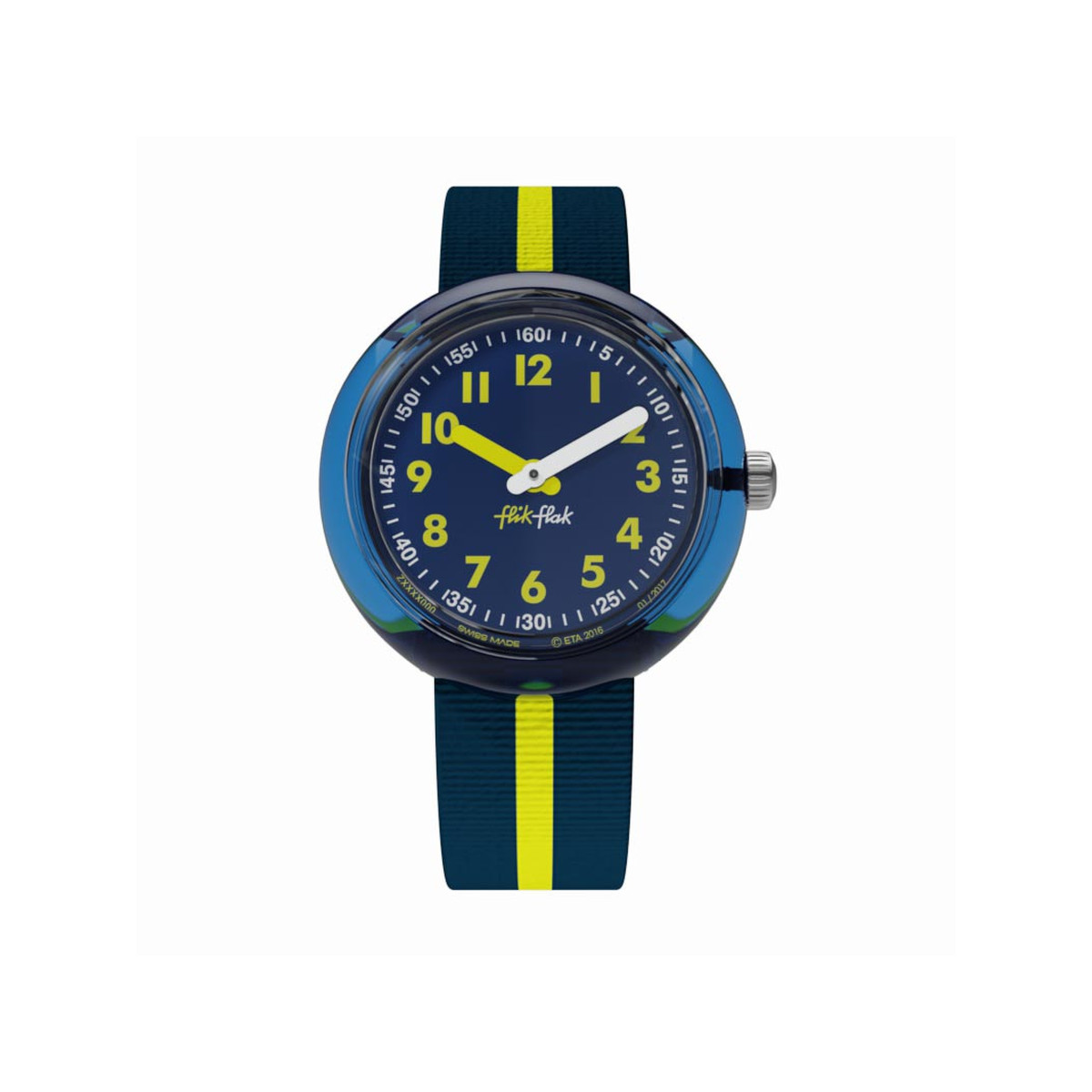 Montre Flik FLak mixte Block Yellow bleu jaune