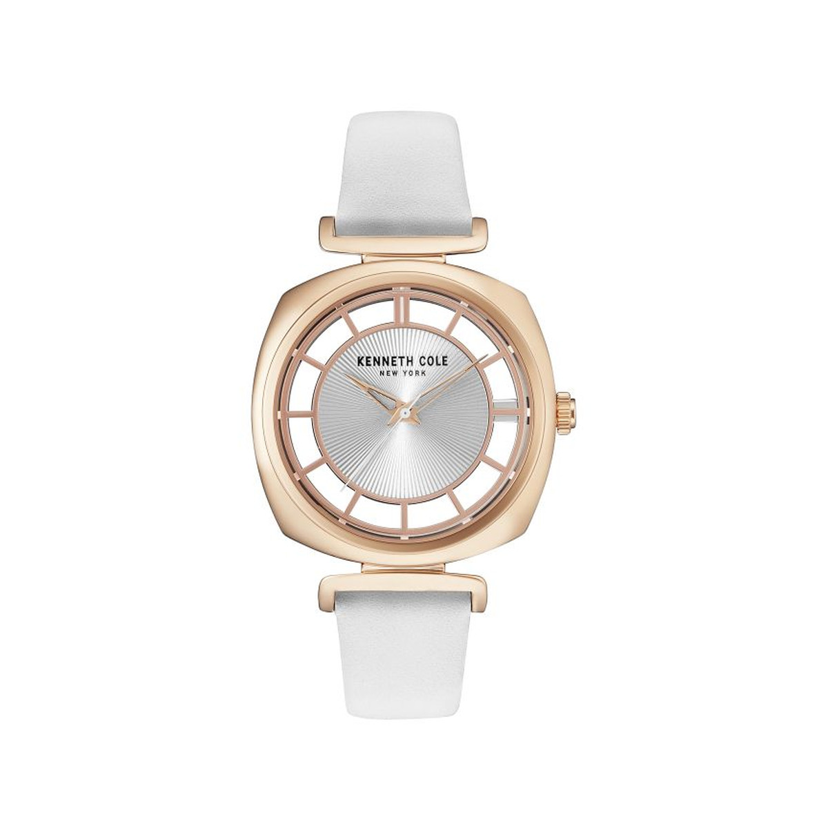 Montre Kenneth Cole femme doré rose cuir blanc