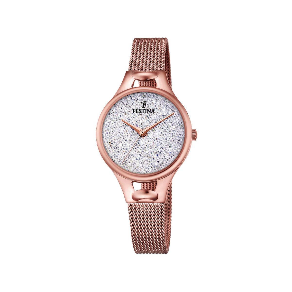 ad963cc4f0734 Montre Festina femme acier doré rose cristaux - Femme - modèle ...