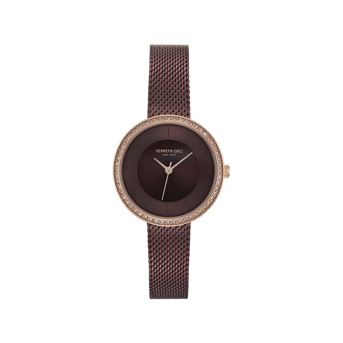 Montre Kenneth Cole femme acier marron pierres imi