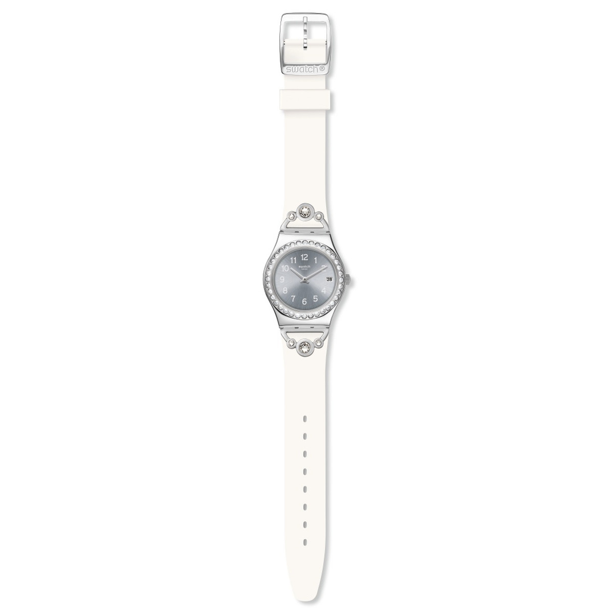 Montre Swatch Pretty in white femme ac caout blanc - vue VD1