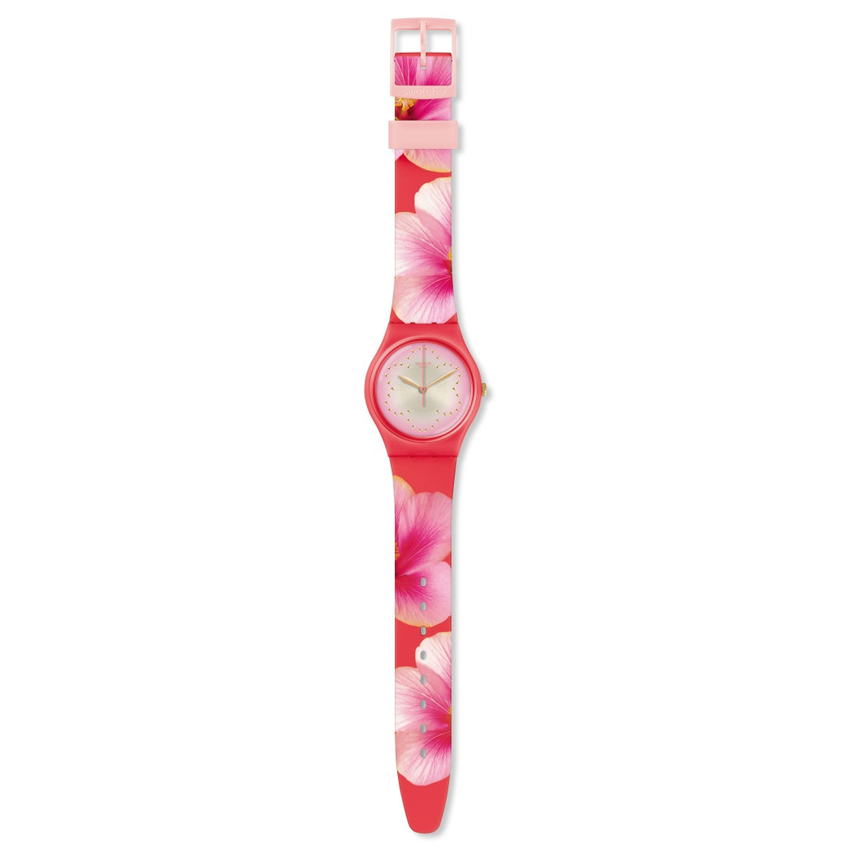 Montre Swatch mixte silicone rose - vue VD1